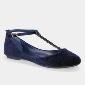 Blue Velvet Ballerina T-strap Flats by Bamboo